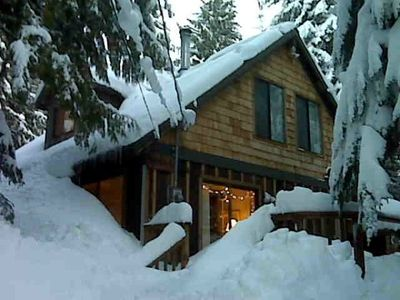 Entrance to cabin on a typical snow year