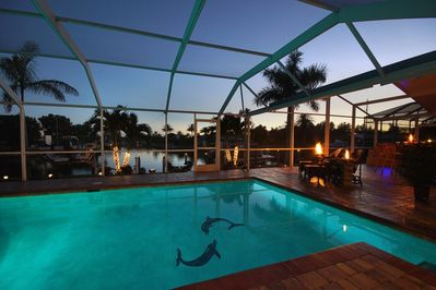 Salt Water pool overlooking canal is beautiful at evening time!