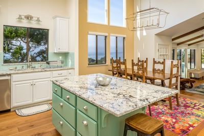 Ocean views from kitchen and dining room -