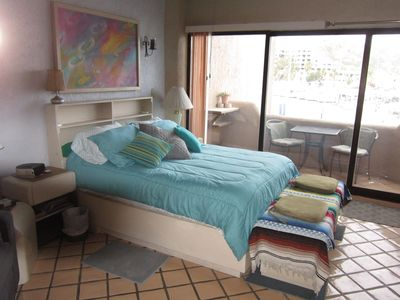 queen size bed and deck