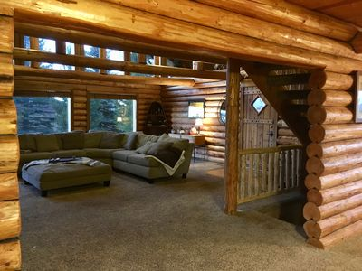 Photo for Hand-Scraped Log Lodge on Golf Course! 25 Min. to Yellowstone! 4500 sq ft