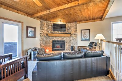 The electric fireplace is sure to warm up the room.