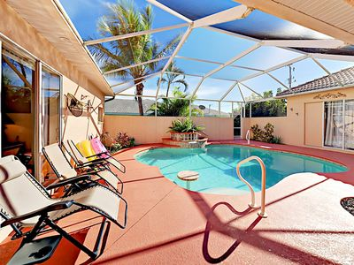 Photo for Private Covered Pool & Canal-Front Patio: Waterfront 3BR Near Aquatic Reserve