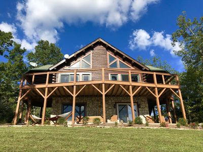 Photo for Beautiful Log Cabin Home with Lake Resort Amenities and Amazing Mountain Views!