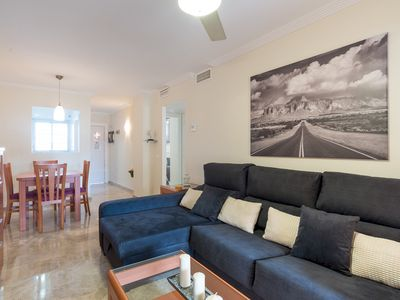 Photo for Beach and Sun apartment in Benalmádena with WiFi, air conditioning, private terrace & lift.