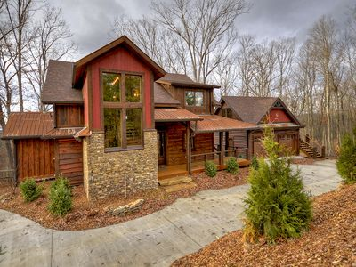 Photo for Outdoor party deck, layers of mtn views, secluded luxury cabin!