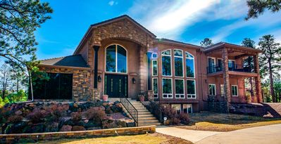Main Entrance. 7,844 SF, 5 BR, 6 Bath, 5FP, on 3 acres - private gated community