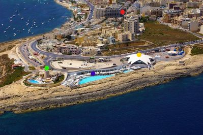 Aerial View of Our Location - the best area in Qawra! Apartment is marked in red