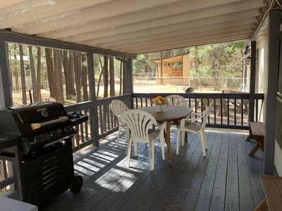 Deck with propane tank (provided) BBQ