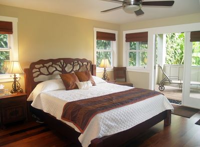 Master King Suite Down Stairs.  French doors open to lanai