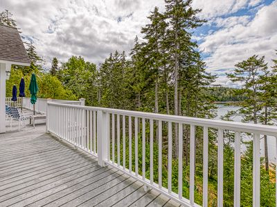 Photo for Comfortable bayfront home w/ beautiful views, large deck & shared dock- dogs OK!