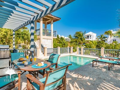 Private pool patio with viewing veranda & pool chairs.