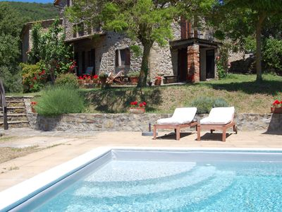 Photo for Restored farmhouse with private pool on Umbria/Tuscany border, breathtaking view