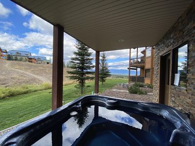 Your very own Private Hot Tub on the True Ski-In/Ski-out lower deck.  The top of the T-Bar can be seen on the top of the bank.  Location, location, location!!
