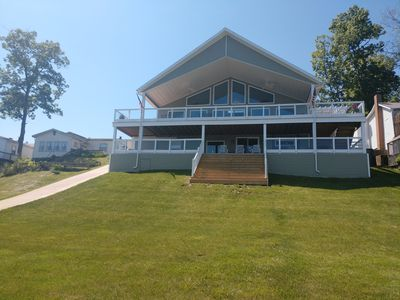 Photo for Gorgeous 85' Lake Front Home Sleeps 12 on Jimmerson Lake with 13ft. Swim Spa