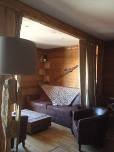 Photo for Charming apartment in chalet la plagne, a minute from the slopes!