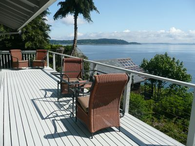 Deck with view of Puget Sound and Bainbridge Island...