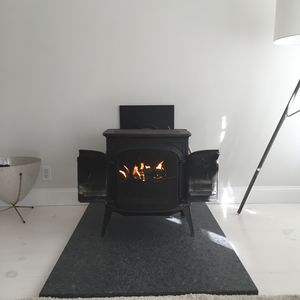 Wood burning fire in Master bedroom
