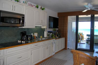 New fully-equipped, stocked kitchen with all the amenities of home. A+ view too.