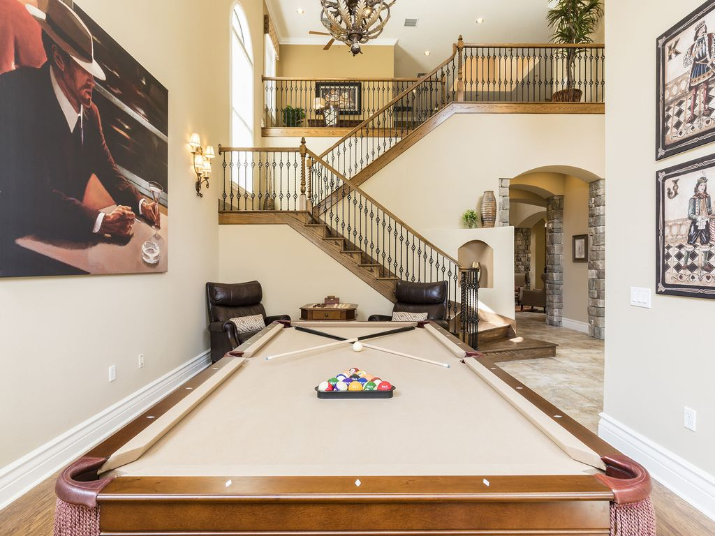 Reunion House Al Billiards Room With 8 Brunswick Slate Pool Table Chess