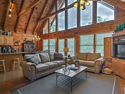 Photo for Smoky Mountain Cabin w/ View From Hot Tub & Deck!