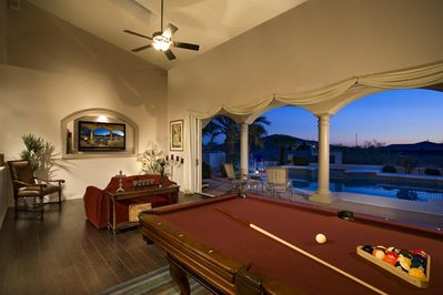 Game & Entertainment Room w/ 20' Glass Wall, open to Pool, Sunny Southward view