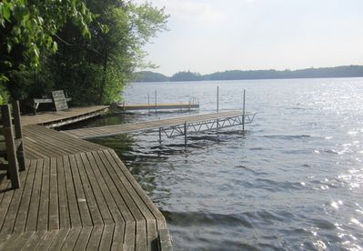 Boat and yonder swimming dock