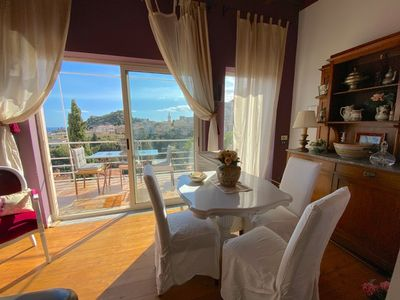 Photo for PANORAMIC VILLA  DORA Sea View Private Terrace BBQ, Fireplace + Garden Taormina