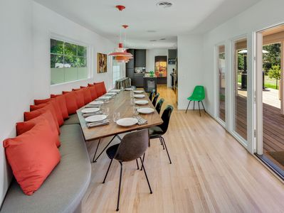 Dining Area - When you're ready to eat, savor family-style meals at the custom-built 10-person dining table.