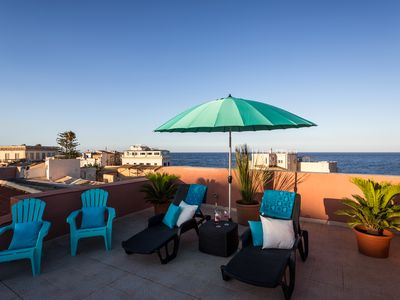 Photo for Beautiful 160 sqm upper floor apartment with sea view terrace,