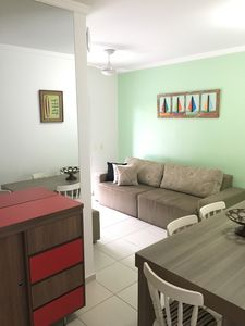 Photo for Grande Beach Apt. end of the beach (Toninhas direction) with cold and heated pool
