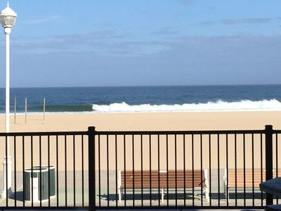 Looking over the boardwalk to the beach from our deck 8 steps down to Boardwalk.