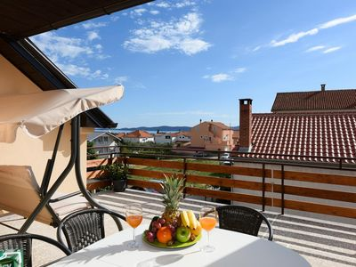 Photo for Two bedroom apartment with terrace and sea view Zadar (A-13534-a)