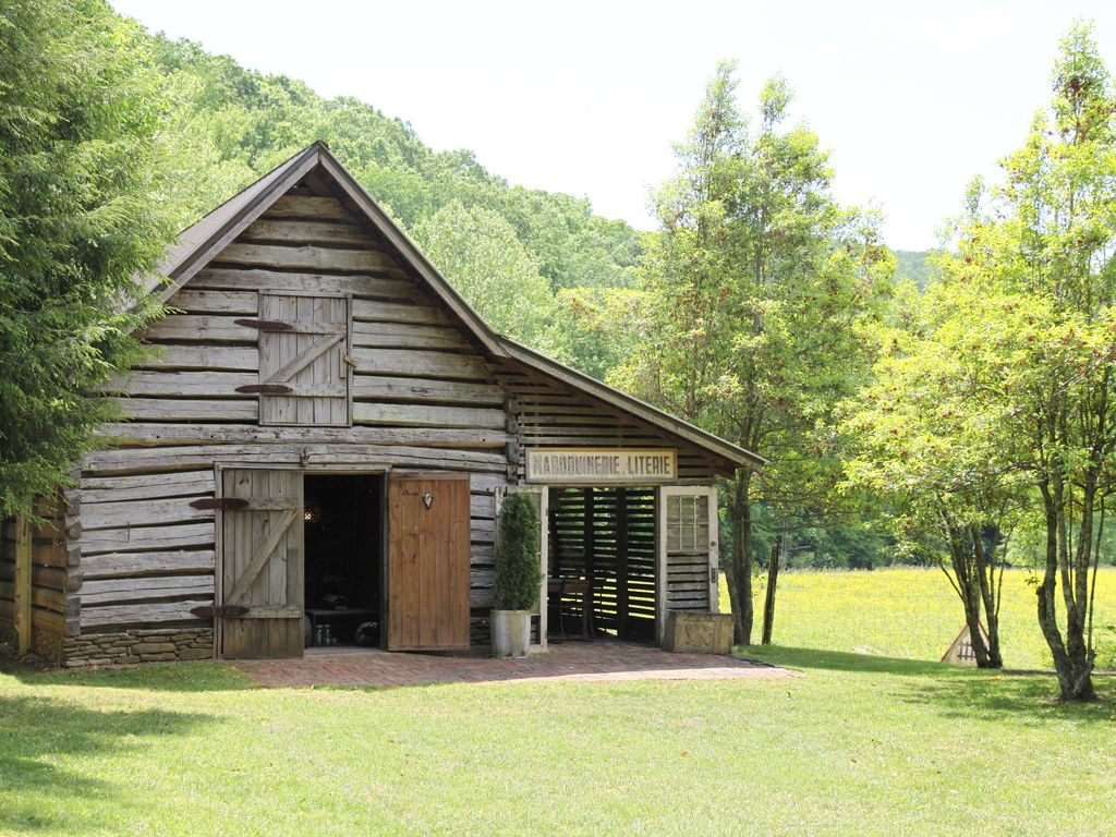 Historic log cabins from the s nestled at end of
