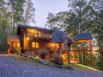 Photo for Three-story cabin w/ mountain views - multiple decks, firepit & games!