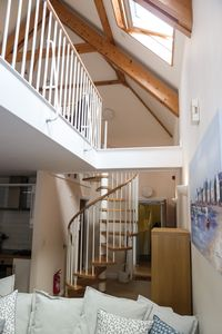 Open plan, lots of light and spiral staircase