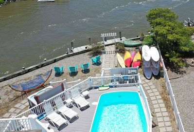 Take your pick-kayaks, canoe, paddle boards, swim, sun, hot tub or have lunch.