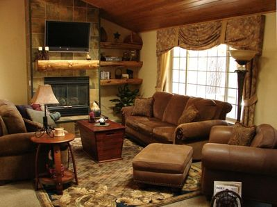 The Great Room with Luxurious Mountain Home Decor