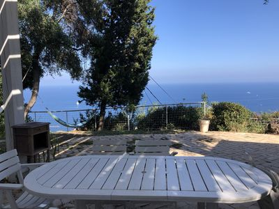 Photo for Maisonette with panoramic sea view among olive trees with swimming pool