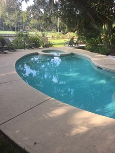 Photo for Gorgeous two-family vacation rental. Walk to beach; Cozy pool deck; golf-side