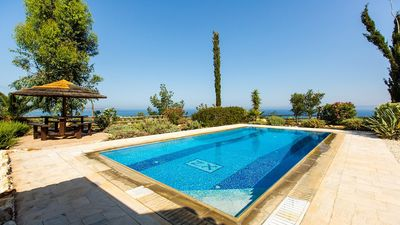 Photo for Attractive Villa, A/C, Private Pool, Magnificent Sea Views overlooking Chrysochou Bay -FREE Car Hire