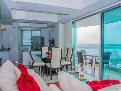 LUXURY, BOCAGRANDE, BEACH, PANORAMIC TO RELEASE; FRONT OF THE SEA, 3 BEDROOMS / WIFI