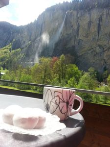 Morning balcony coffee watching wind blow Stuabbach Falls (Staub = dusty) 2017
