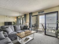 Amazing ocean view from a nice roomy condo with direct access to the beach.
