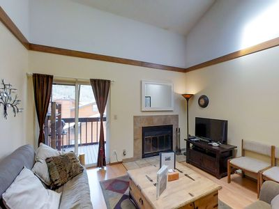 Photo for Inviting creekfront condo w/shared pool, hot tub & fitness center - near skiing