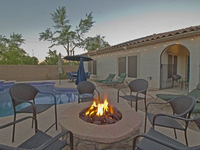 Photo for CHECK OUT THIS HUGE HEATED POOL AND FIREPIT FOR CHILLY NIGHTS!
