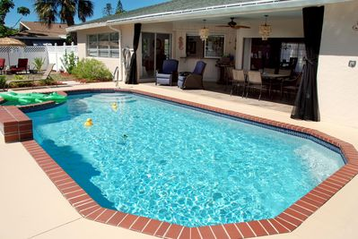 Heated south-facing pool right next to the Lanai and Kitchen