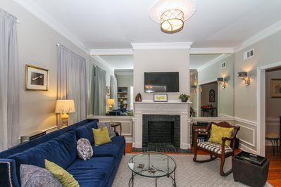 With the television over the fireplace, the living room is ready for relaxing.