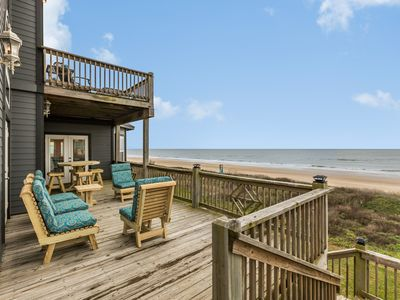 Photo for Oceanfront home w/fireplace,deck,gazebo & private balcony, dogs ok-on the beach!
