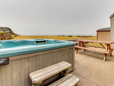 Photo for Oceanfront home w/ hot tub, views, shared pools & saunas - steps to Shell Beach!
